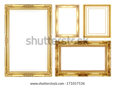 gold antique vintage  picture frames. Isolated on white background - stock photo