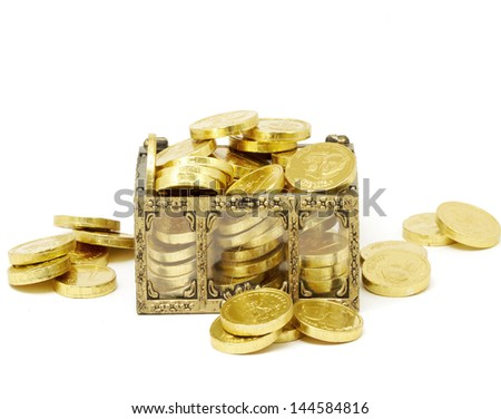 gold chest  of chocolate money