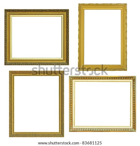 4 gold frame  over white background - stock photo