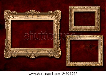 3 Gold Frames Against a Grunge Red Textured Background