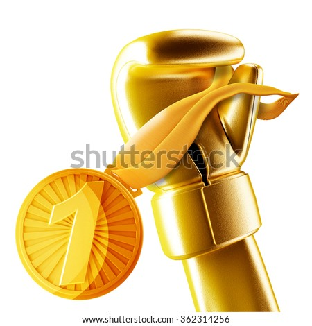 gold medal for winning the boxing hangs on the gloves. - stock photo
