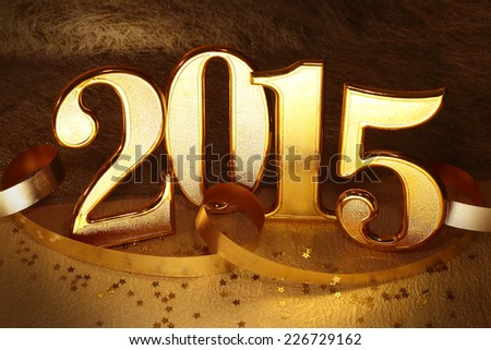 2015 gold numbers text and decoration