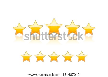 5 gold stars isolated on white - stock photo