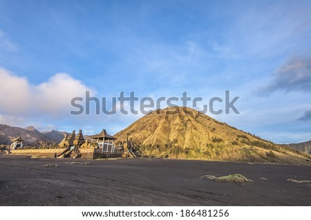 Golden Mount Batok in the Bromo caldera, Eastern Java - stock photo