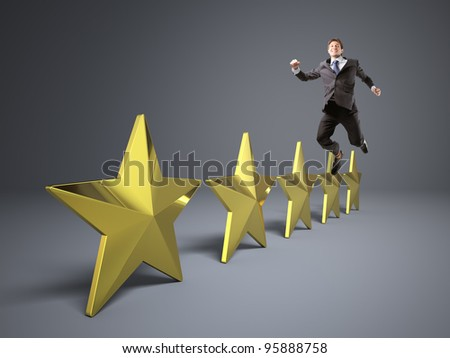 5 golden star and jumping man - stock photo