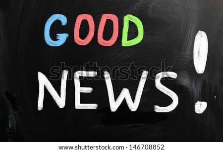 """Good News!"" handwritten with white chalk on a blackboard. - stock photo"