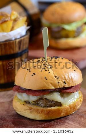 Gourmet cheeseburger - stock photo