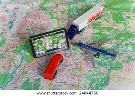 GPS Navigation system on a  map. Car form is changed. - stock photo