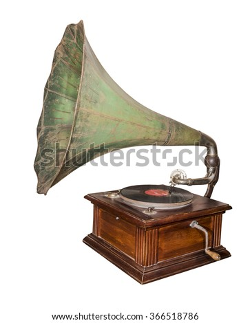 Gramophone - device for reproducing sound recorded on gramophone record(1920). Is isolated on the white - stock photo
