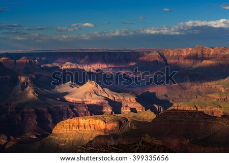 Grand Canyon, Arizona, scenery, profiled on sunset sky, with selective light and shade