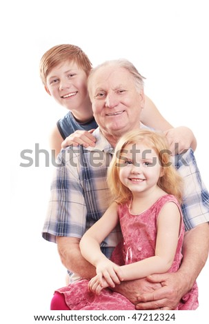 grandfather with boy and girl