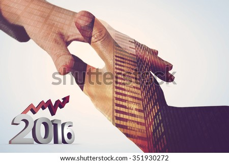 2016 graphic against composite image of businesspeople going to shake hands - stock photo