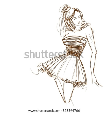 graphic with beautiful young   girl model for design. Fashion, style, youth,   beauty,  . Graphic, sketch drawing. Sexy woman.