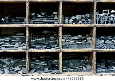 ,graphical characters of a printing office in drawers, - stock photo