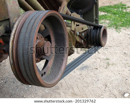 Grass mower transmission from wedge belts and pulleys    - stock photo