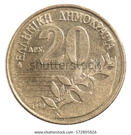 20 Greek drachma isolated on a white background