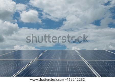 Green energy with solar panels outdoor as alternative power in renewable resource in morning for start your life.