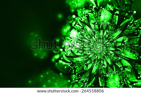 green fantasy artistic flower with lighting effect. Beautiful shiny futuristic background for wallpaper, interior, album, flyer cover, poster, booklet. Fractal artwork for creative design. - stock photo