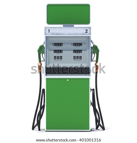 Green gas pump on white background. 3d render. Isolated - stock photo