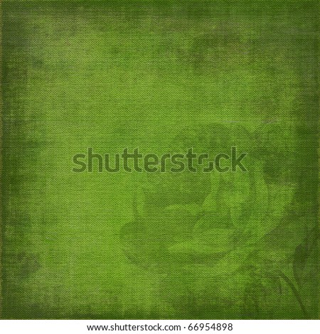 green, grunge background with rose silhouette