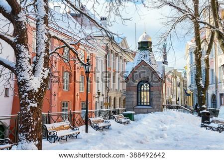 """""""Green Market"""" square in winter. Tallinn, Estonia, EU - stock photo"""