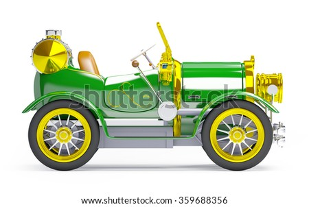1910 green retro car on a white background in steampunk style side view - stock photo