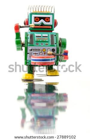 green retro robot toy (no trade mark ) - stock photo