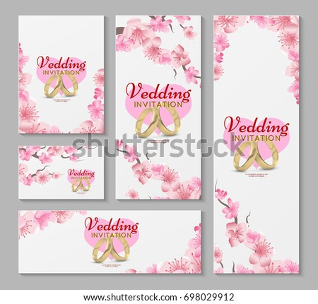 Greeting wedding invitation cards japanese sakura stock illustration greeting and wedding invitation cards with japanese sakura cherry blossom flowers invitation wedding with stopboris