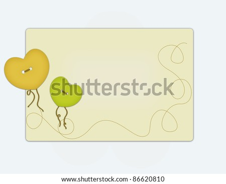Greeting card decorated with buttons - stock photo