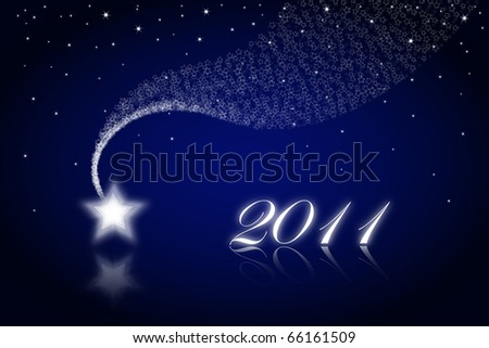 2011  greeting card on blue  background & star - stock photo