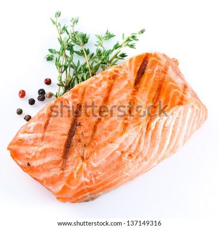 grilled salmon on white background - stock photo