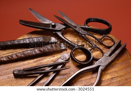 Group of old shoemakers tools - stock photo
