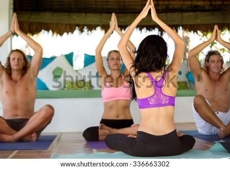 Group of people on yoga class