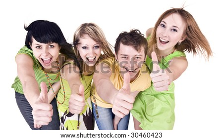 Group of people throwing out thumbs. Isolated.