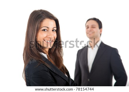 Group of two smiling businesspeople. Isolated on white.