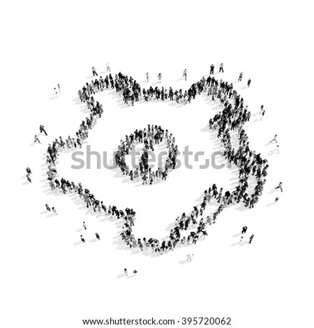 group  people  shape  gear - stock photo