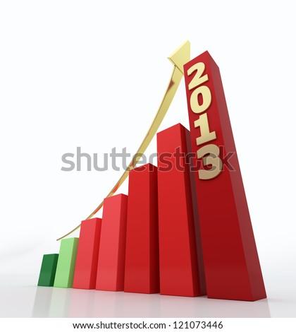 2013 growth chart - stock photo