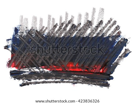 grunge blue red brush strokes oil paint and lines lead pencil isolated on white background - stock photo