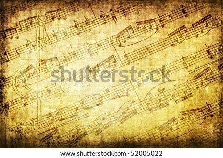 Grunge musical background - stock photo