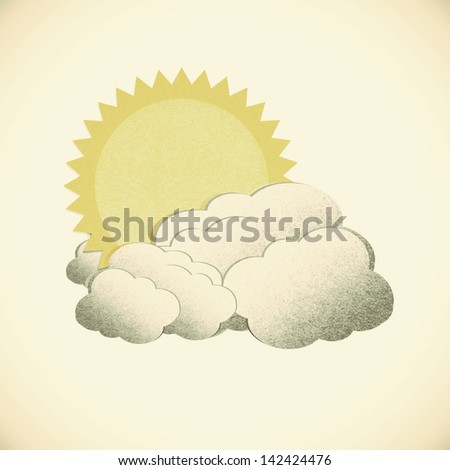 Grunge recycled paper sun on vintage tone  background