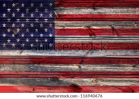 Grunge USA Flag on wood background - stock photo