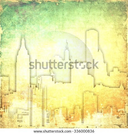 Grunge yellow abstract city skyline with bubble                          - stock photo