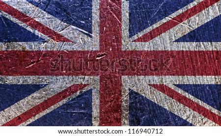 Grungy UK Flag on metallic background - stock photo