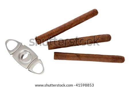 guillotine cigar and cigar on a white background - stock photo