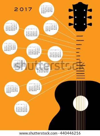 2017 Guitar calendar, ideal for gig calendar - stock photo