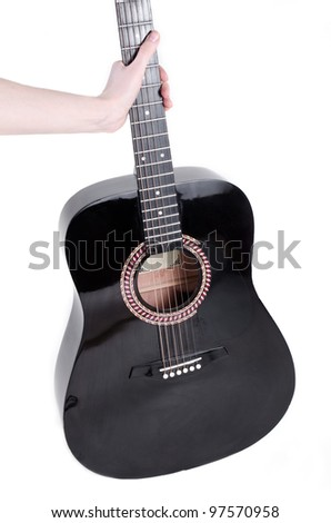 guitar in hand  isolated over white background - stock photo