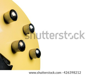 guitar volume and tone controls isolated on white background. - stock photo