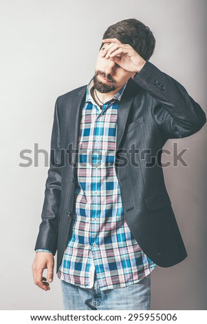 guy headache - stock photo