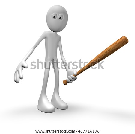 guy with baseball bat - 3d illustration