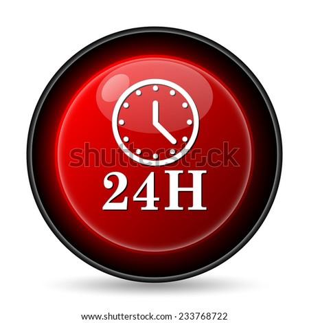 24H clock icon. Internet button on white background.  - stock photo